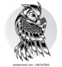 Bird Owl Moon Black Vector Illustration