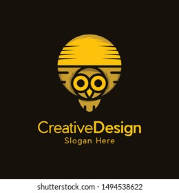 Bird Owl Moon Illustration Vector Logo