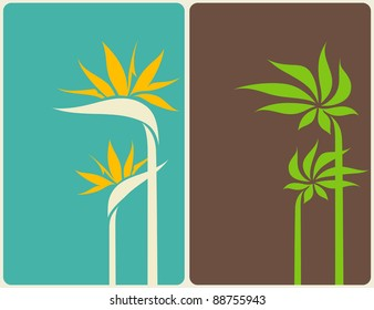 Bird of paradise flower and palm tree leaf. Vector illustration.