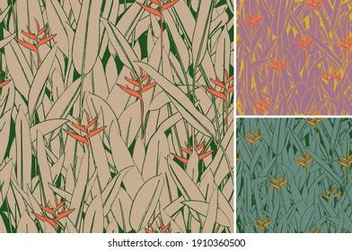 Bird of Paradise seamless organic pattern. Latin American and tropical plant earth tone motif.