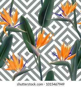 Bird of paradise tropical flower vector seamless pattern.  Delicate african crane flower or strelitzia reginae blossom floral textile pattern. Jungle leaves, paradise tropical plant background.