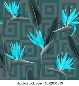 Bird of paradise tropical flower vector seamless pattern.  Decorative african crane flower or strelitzia reginae blossom floral fabric pattern. Jungle leaves, paradise tropical plant summer design
