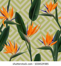 Bird of paradise tropical flower vector seamless pattern.  Elegant african crane flower or strelitzia reginae blossom floral fabric pattern. Jungle leaves, paradise tropical plant seamless.