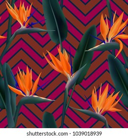 Bird of paradise tropical flower vector seamless pattern.  Cool african crane flower or strelitzia reginae blossom floral fabric pattern. Jungle leaves, paradise tropical plant design with zig zag.