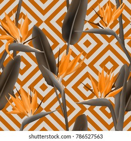 Bird of paradise tropical flower vector seamless pattern.  Cool african crane flower or strelitzia reginae blossom floral textile pattern. Jungle leaves, paradise tropical plant design.