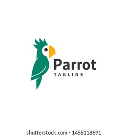 Bird Parrot Vector logo design, template illustration