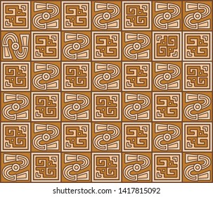 Bird pattern vector from ancient textiles of Ychsma ancient Peruvian culture. Pre-Columbian art pattern representing Ychsma culture of Peru.