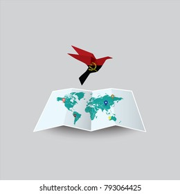 Bird of Peace in the World in Angola Flag. Image of a vector world map with a colorful gray background. Vector illustration eps 10.