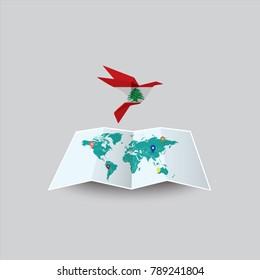 Der Vogel des Friedens in der Welt in der libanesischen Flagge. Bild einer Vektorweltkarte mit buntem grauem Hintergrund. Vektorgrafik eps10.
