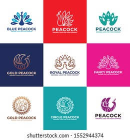 Bird, Peacock logo design collection can be used as symbols, brand identity, company logo, icons, or others. Color and text can be changed according to your need.