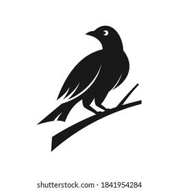 bird perching on tree branch looking back illustration vector