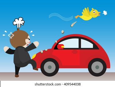 bird pooping on businessman car cartoon vector