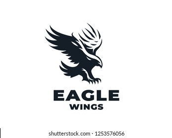 Bird of prey, eagle or hawk with outstretched wings and sun. Vector illustration.