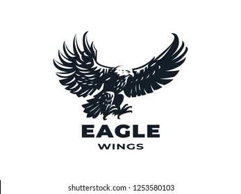 Bird of prey, eagle or hawk with outstretched wings. Vector illustration.