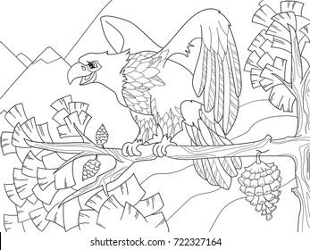 The bird of prey is an eagle on a tree branch. Falcon on the Christmas tree. Coloring children vector