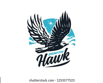 Bird of prey hawk with outstretched wings. Sun and clouds. Vector illustration.