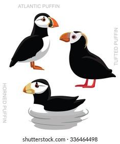 Bird Puffin Set Cartoon Vector Illustration