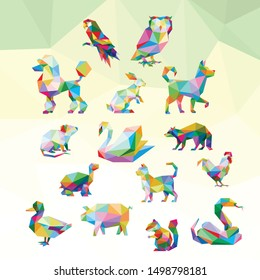 BIRD RABBIT OWL RACOON DOG  POODLE CHIPMUNK CAT TURTLE DUCK CHICKEN SWAN SNAKE MOUSE RAT PIG ROOSTER ANIMAL PET POP ART LOW POLY LOGO ICON SYMBOL. TRIANGLE GEOMETRIC POLYGON