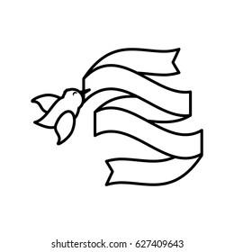bird ribbon romance image outline