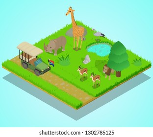 Bird sanctuary isometric concept banner. Illustration banner of bird sanctuary isometric vector concept for web, giftcard and postcard