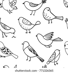 Bird seamless pattern. Background with cute hand drawn bird doodles. Black on white vector