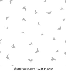 Bird seamless pattern. Gray birds on a white background. Vector illustration.