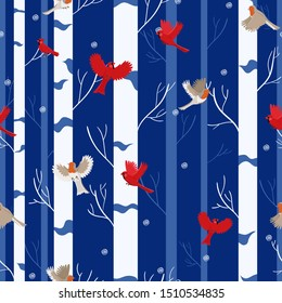 Bird seamless pattern: red cardinal and robin in the winter forest.