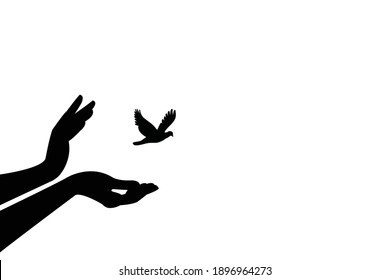 bird set free , bird flying for freedom from an open hand, freedom concept, silhouette of a bird released from hand.