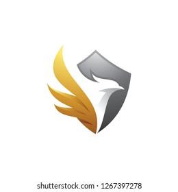 Bird and shield logo design, eagle, falcon, hawk and wing vector icon
