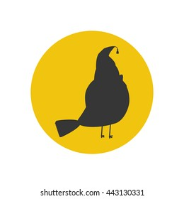 Bird silhouette icon on the yellow background. Vector illustration