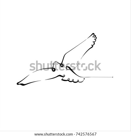 Bird Silhouette Line Calligraphy Style Vector Stock Vector Royalty