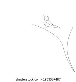 Bird silhouette line drawing, vector illustration