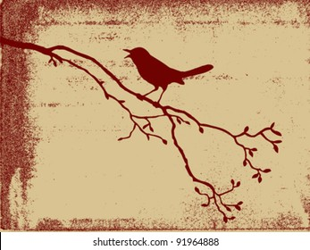 bird silhouette on grunge background, vector illustration