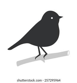 Bird silhouette sitting on the branch. Vector symbol