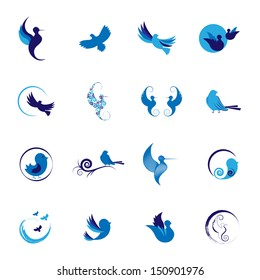 Bird Silhouettes Set - Isolated On White Background - Vector Illustration, Graphic Design Editable For Your Design.