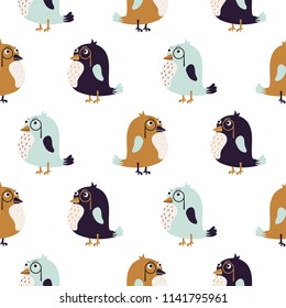 Bird sir cute seamless vector pattern.