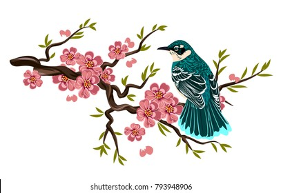 bird sitting on a branch of cherry blossoms