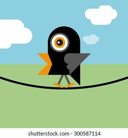 Bird sitting on the wire