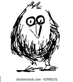 Bird sketch vector illustration in funny doodle style