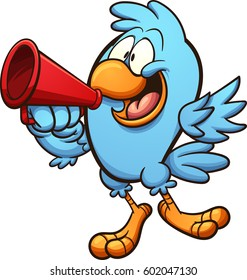 Bird speaking on megaphone. Vector clip art illustration with simple gradients. All in a single layer.