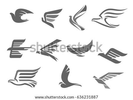 Bird Spread Wings Birds Flying Vector Stock Vector Royalty Free