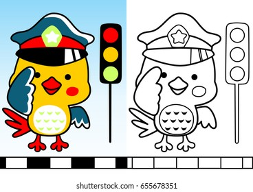 bird traffic cop with traffic light, vector cartoon, coloring book/page