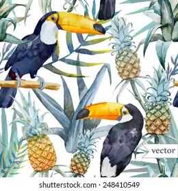 bird, tropical, palm tree, watercolor, pineapple, pattern, wallpaper, toucan