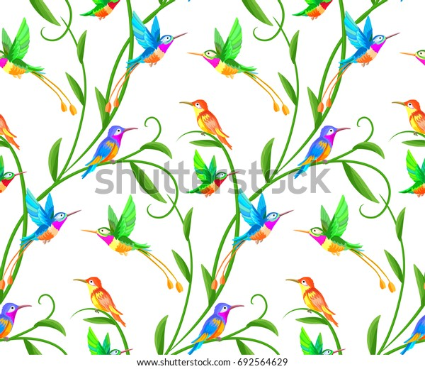 Bird and tropical paradise seamless pattern background.