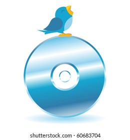 Bird twitting on top of a CD DVD over white