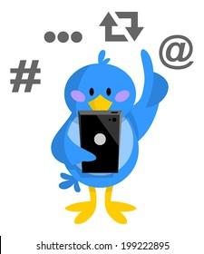 Bird typing on phone