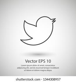 Bird vector icon, a little bird. The bird chirps icon. Vector icon EPS 10