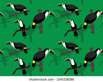 Bird White Throated Toucan Seamless Background Wallpaper-01