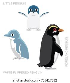 Bird White-Flippered Penguin Set Cartoon Vector Illustration