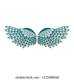 Bird wings isolated in blue lines